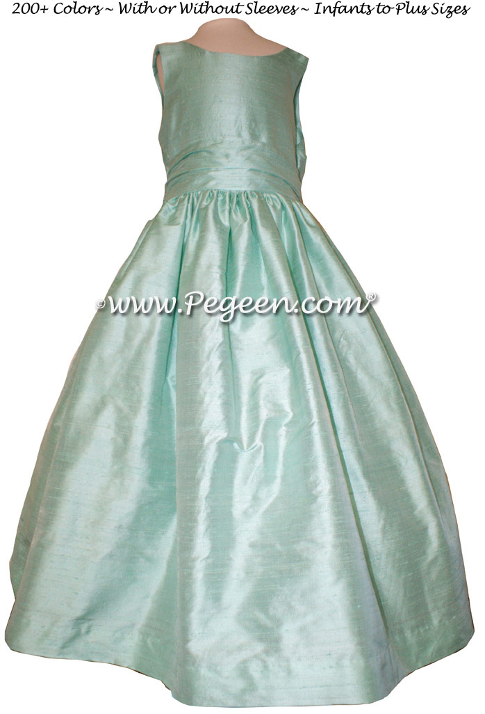 Aqualine silk flower girl dresses