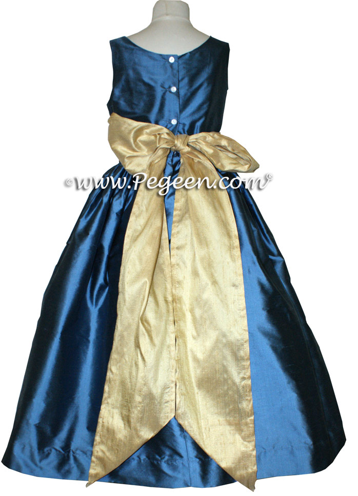 Spun gold and storm blue Jr Bridesmaid dress style 388