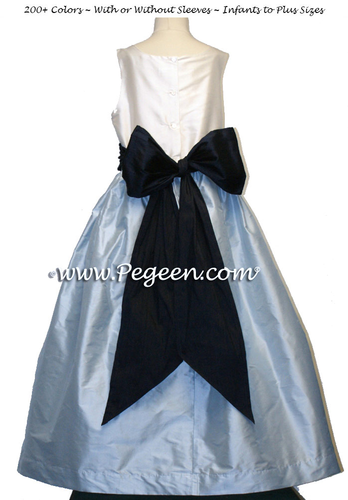 Navy ivory and baby blue jr. Bridesmaid dress style 388