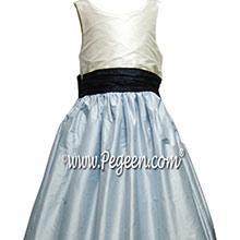 NAVY AND BABY BLUE AND IVORY SILK ORGANZA JR. BRIDESMAID DRESS