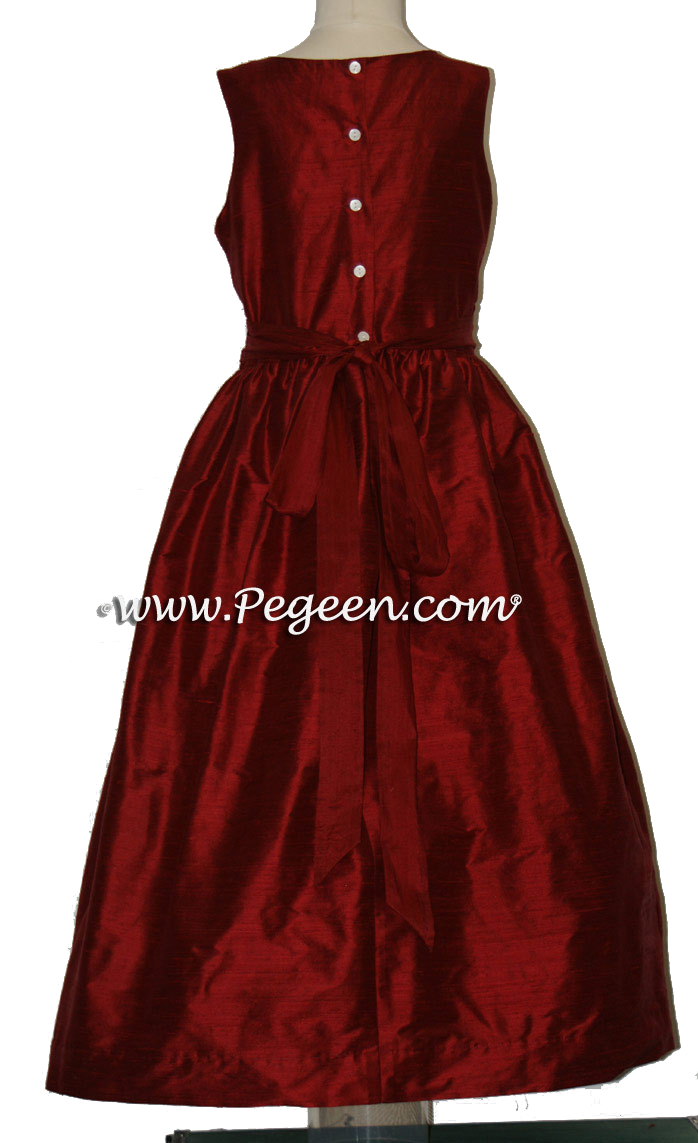 Cranberry (Garnet)  flower girl dresses in silk style 388