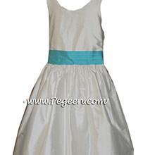 Custom NEW IVORY AND BAHAMA BREEZE(turquoise blue) flower girl dresses in silk BY PEGEEN