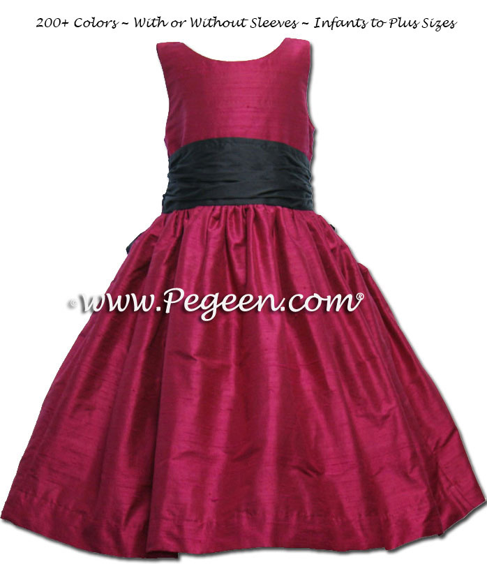 Jr. Bridesmaid Dress in Beauty (Cabernet Red) and Navy | Pegeen