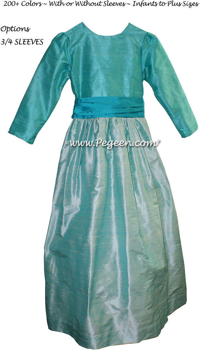 Jr BRIDESMAIDS DRESSES in Bahama breeze, turquoise and sea glass silk