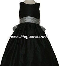 Black and Morning Gray silk flower girl dress for Jr Bridesmaids