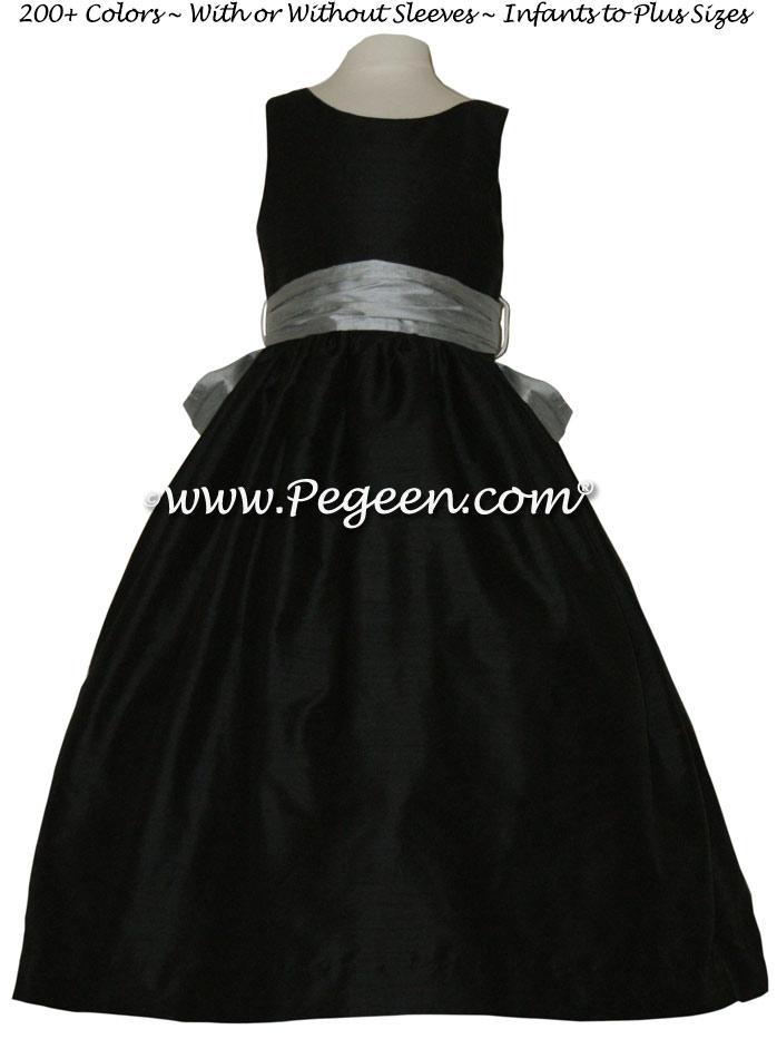 Morning gray and black Jr Bridesmaid dress style 388