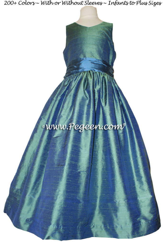 Storm Blue with Blue Spruce Jr. Bridesmaids Dress Style 388