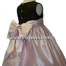 chocolate brown and pink flower girl dresses