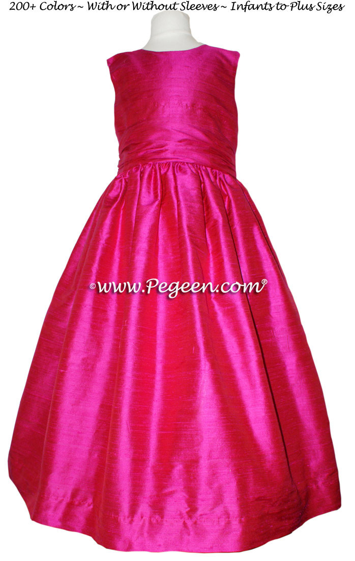 Custom Boing (hot pink) flower girl dress in silk Style 388