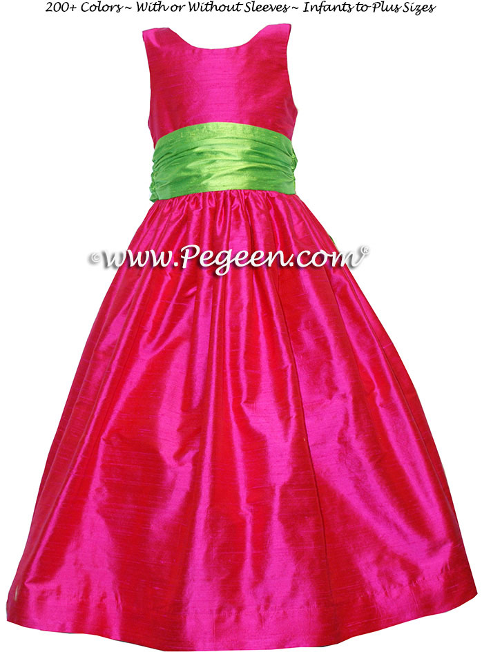 Boing (hot pink) and green Silk Flower Girl Dresses and Jr Bridesmaids Style 388