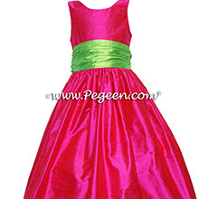 Boing (hot pink) and Keylime Silk Flower Girl Dresses style 388 by Pegeen