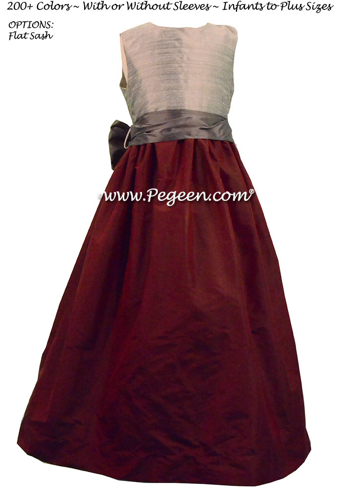 BURGUNDY, PEWTER, AND SILVER JUNIOR BRIDESMAIDS DRESSES