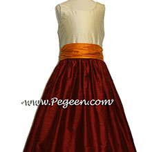 CRANBERRY and  TANGERINE and  BUTTERCREME  FLOWER GIRL DRESSES