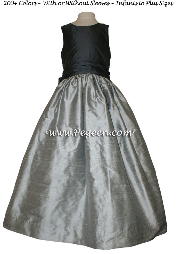Morning Gray and Charcoal Gray flower girl dresses