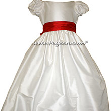 Antique White AND CHRISTMAS RED JR. BRIDESMAID DRESS STYLE 388 BY PEGEEN