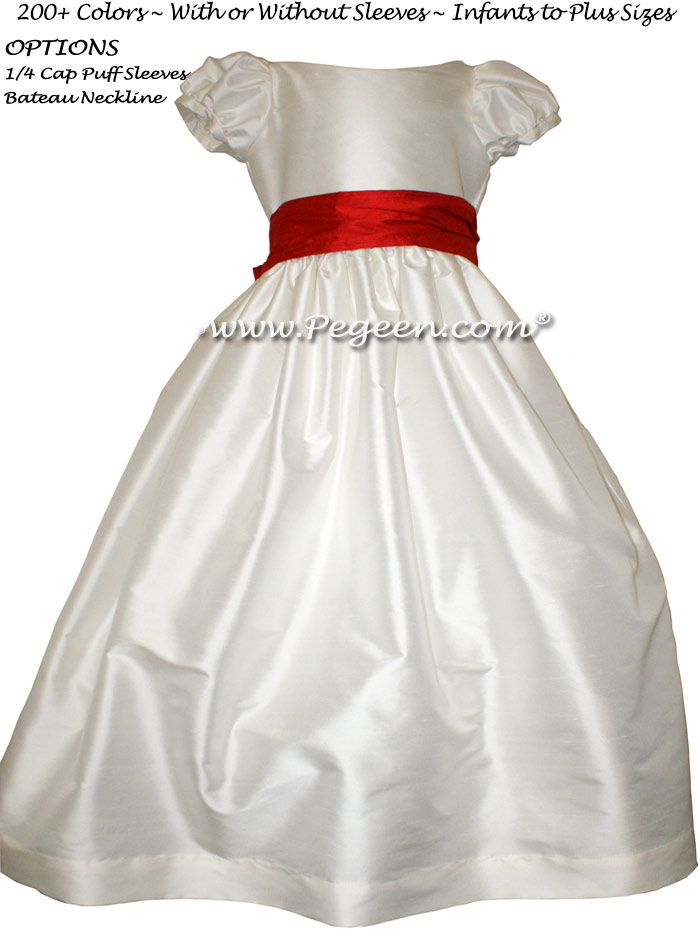 Antique White and Christmas Red flower girl dresses with puff sleeves