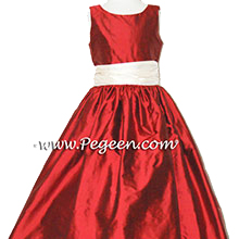 Claret Red and New Ivory Custom Silk Flower Girl Dress Style 388