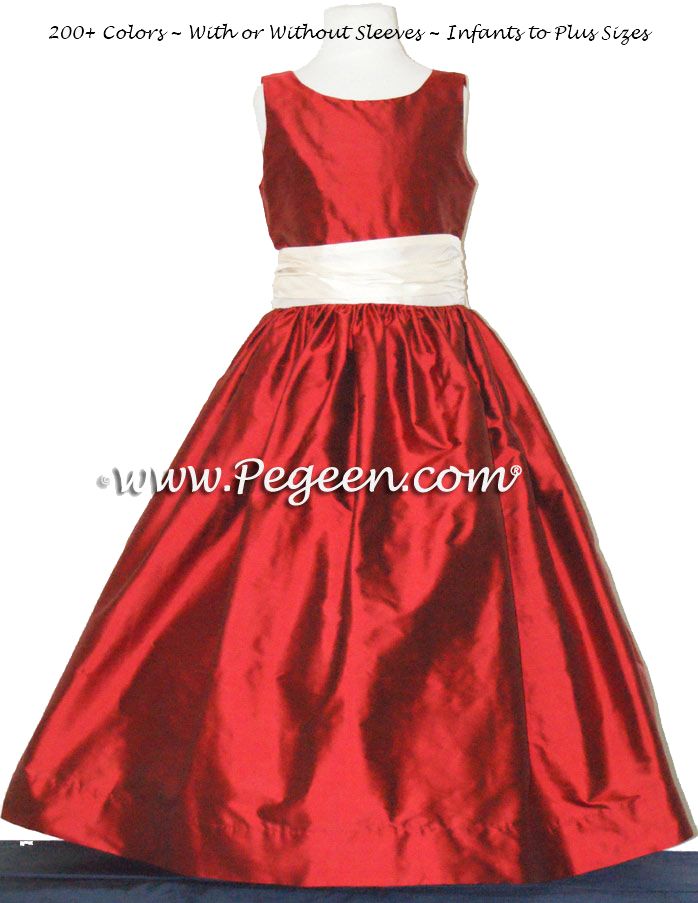 Claret Red and Buttercreme Jr Bridesmaids Dress Style 388