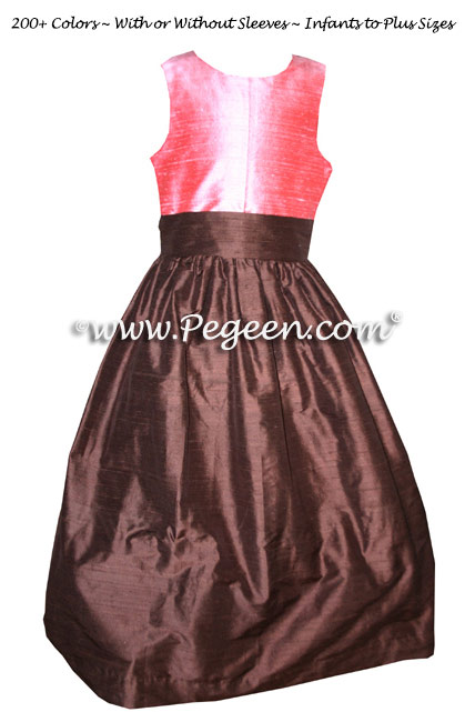 Junior Bridesmaids dress in gumdrop and chocolate brown - Pegeen Style 388