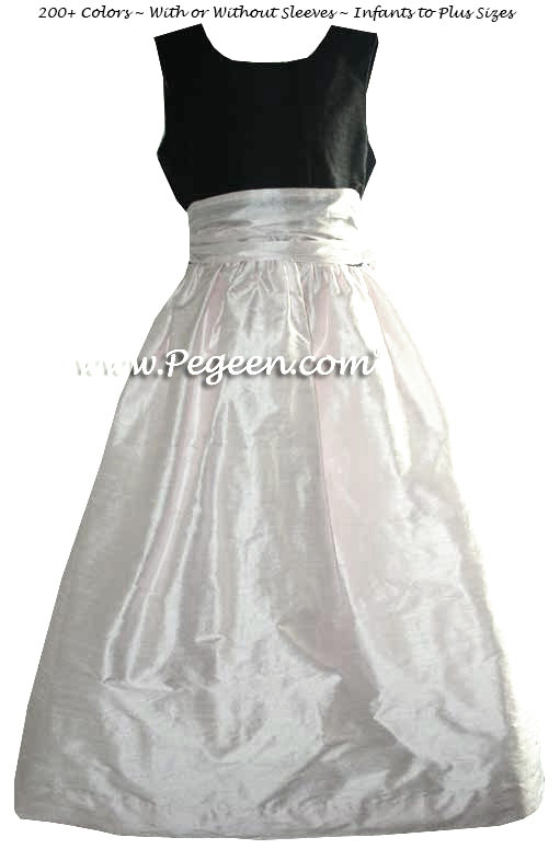 CUSTOM FLOWER GIRL DRESSES IN CLASSIC BLACK AND PEONY PINK