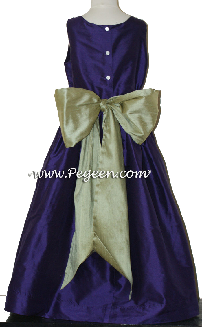 Flower Girl Dress in Deep Plum and Sage Green  - Pegeen Style 388