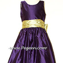 Deep Plum and Sage Green SILK Flower Girl Dresses
