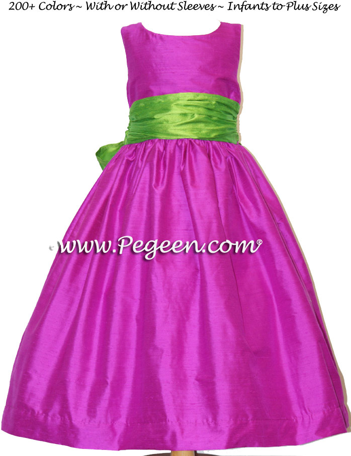 Flower Girl Dress in key lime green and fuchsia - Pegeen Style 388