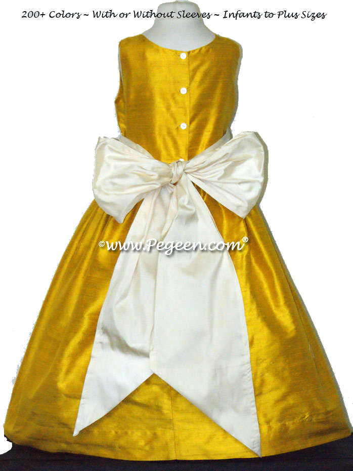 Flower Girl Dress in Goldenrod Yellow and Buttercreme - Pegeen Style 388