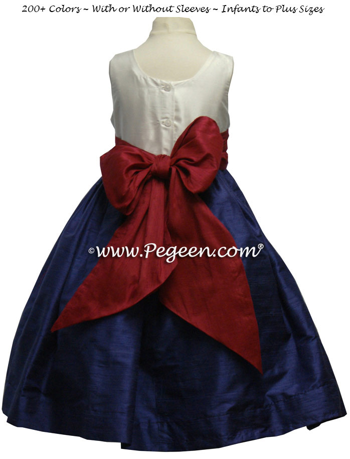 Jr Bridesmaids Dress in Grape, Beauty (Red), Ivory - Style 388 | Pegeen