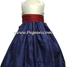 GRAPE (PURPLE) AND BEAUTY (RED) and ivory flower girl dress