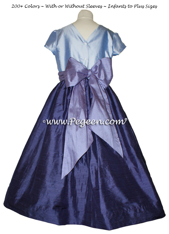 Jr Bridesmaids Dress in Grape, Periwinkle and Wisteria - Style 388 | Pegeen