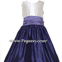 Grape (deep purple-blue) and Periwinkle silk Flower Girl Dresses by Pegeen