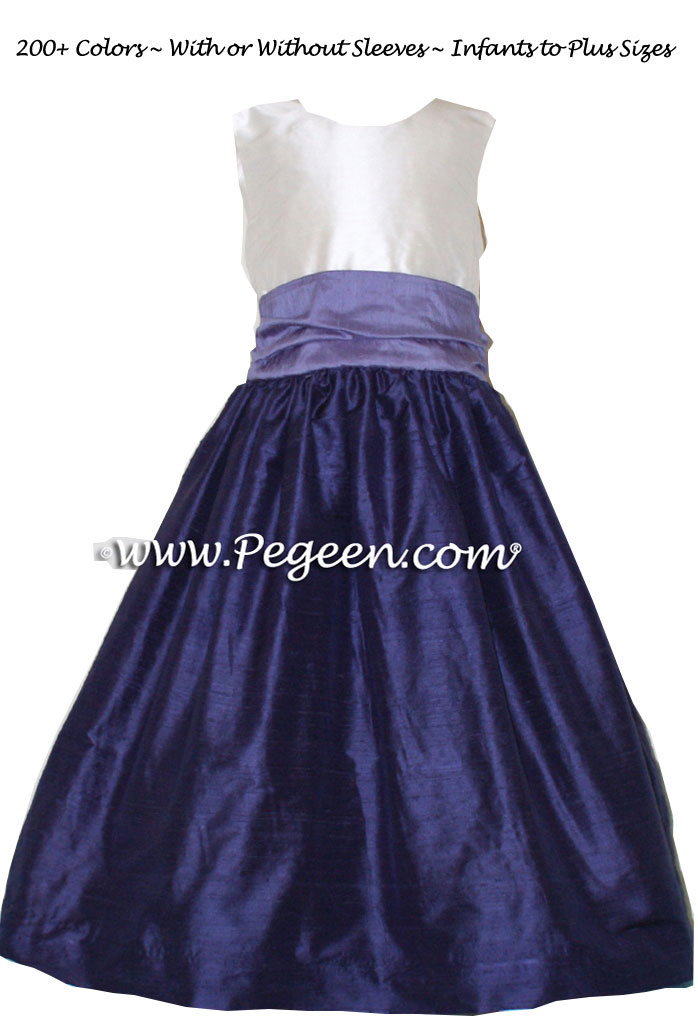 Jr Bridesmaids Dress in Grape and Periwinkle - Style 388 | Pegeen