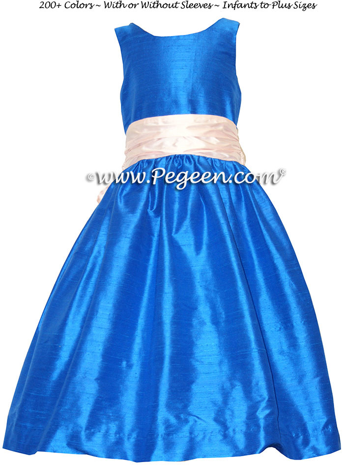 Malibu Blue and Petal Pink flower girl dresses Style 388