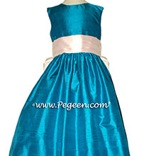 Mosaic (bright teal) and Petal Pink flower girl dresses Style 398