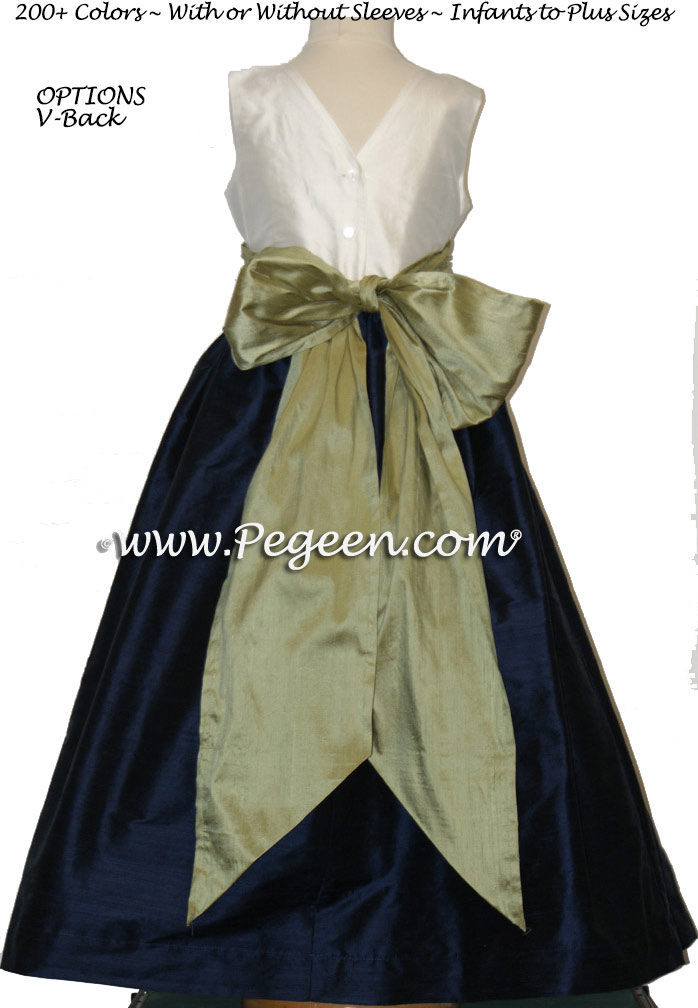 Navy, New Ivory and Sage Green flower girl dresses