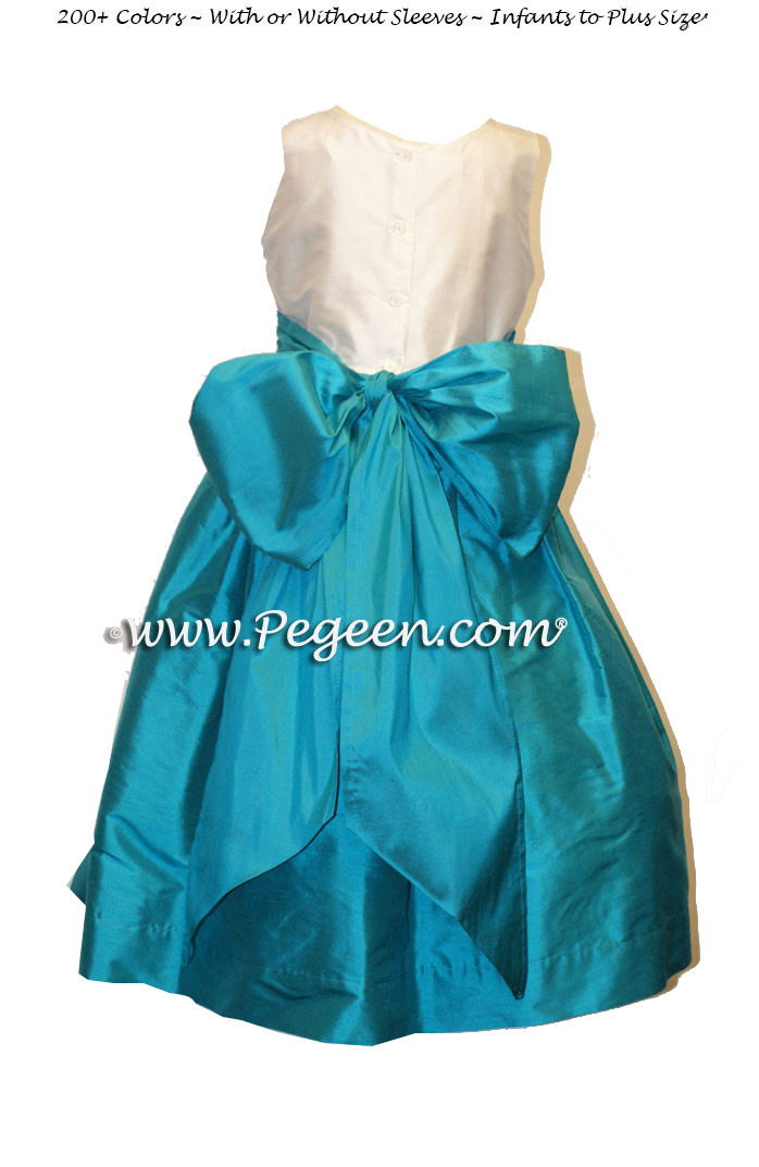 Custom flower girl dresses in Deep sea and bahama breeze (turquoise blue)