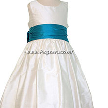 Oceanic Blue and Antique White Flower Girl Dresses Style 388
