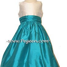 TURQUOISE AND IVORY CUSTOM Flower Girl Dresses