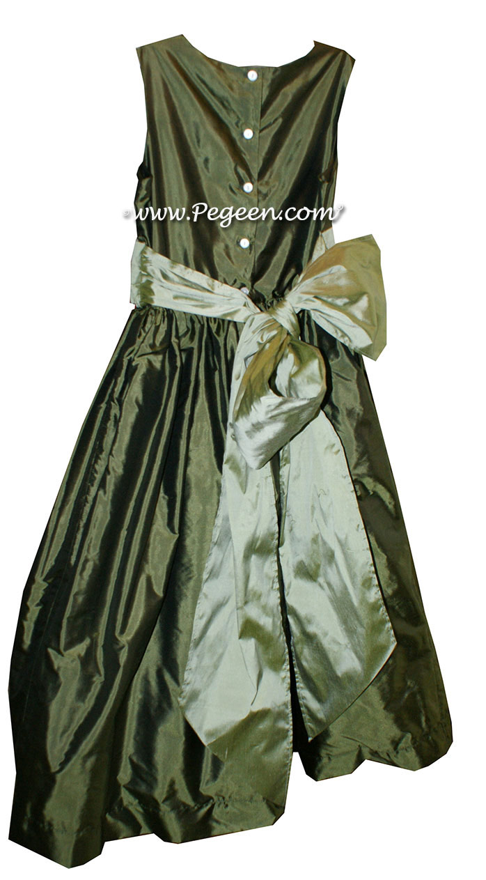 Custom Olive and Celery flower girl dresses