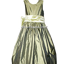 Jr BRIDESMAIDS DRESSES in Olive green and Celery