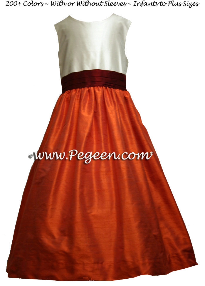 Silk Flower Girl Dresses with a New Ivory Bodice, Cranberry Sash and Orange Skirt