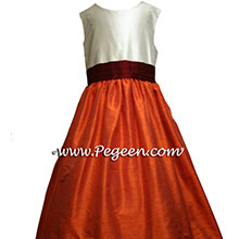 flower girl dresses for fall weddings in mango and burgundy