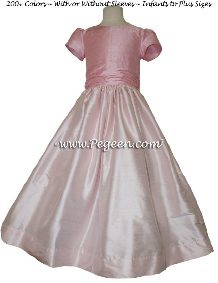 Hibiscus and Peony Pink flower girl dresses Classic Style 388