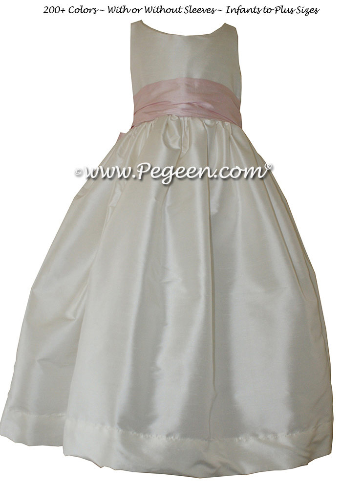Peony Pink and Antique White flower girl dresses