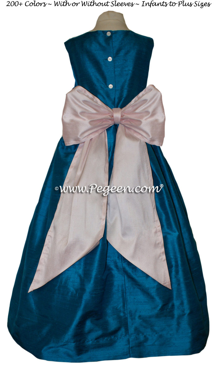 Mosaic Bright Teal And Petal Pink Flower Girl Dresses Style 398