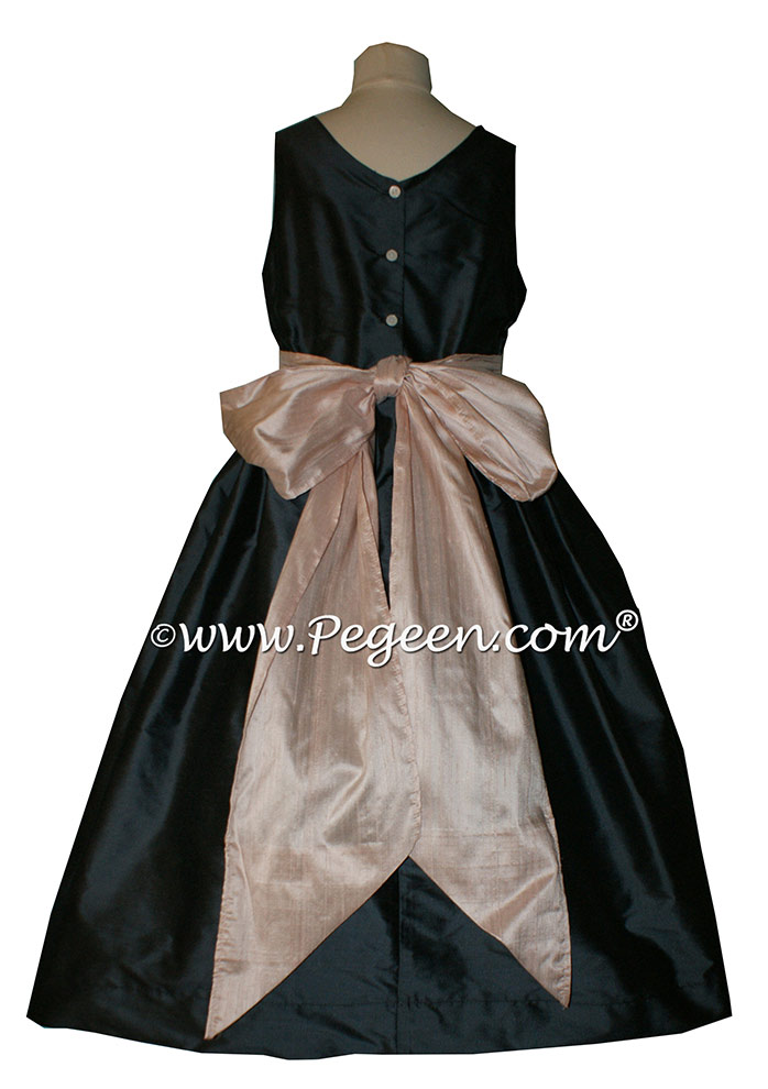 Pewter Gray and Blush Pink Flower Girl Dress