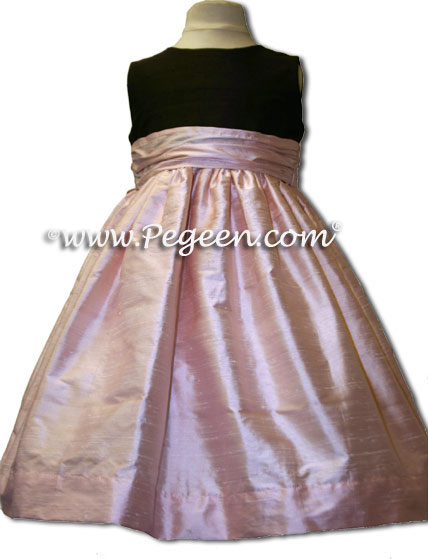 Custom Blush pink and chocolate brown flower girl dresses in silk Style 398
