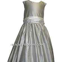 Platinum silver gray junior bridesmaids dresses