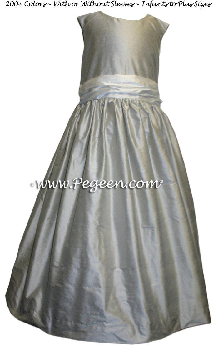 Silk Flower Girl Dresses in Platinum -  Classic Style 388